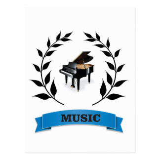 piano music seal postcard