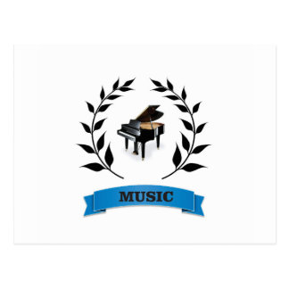 piano music seal postcard