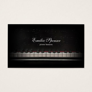 Piano Music Teacher Black Business Card