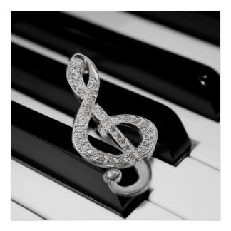 Piano musical symbol poster