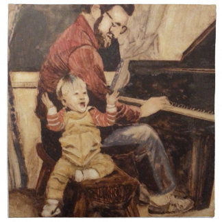 Piano Musician Father and Son Napkin