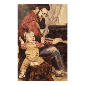 Piano Musician Father and Son Stationery