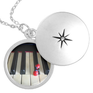 Piano - Nostalgia Silver Plated Round Locket