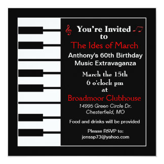 Piano note invitation card