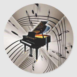 Piano Notes and Staff Round Sticker