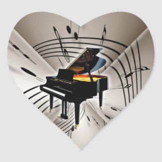 Piano Notes and Staff Heart Sticker