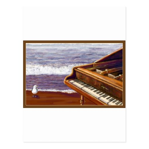 Piano on a Beach Post Card