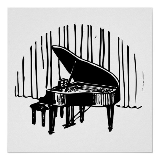 Piano On Stage Poster