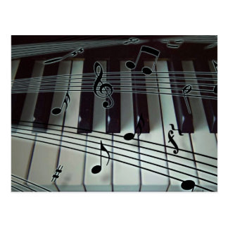 Piano or Organ Keyboard with Music Notes Postcard