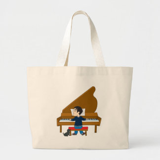 Piano Player and Dog Large Tote Bag