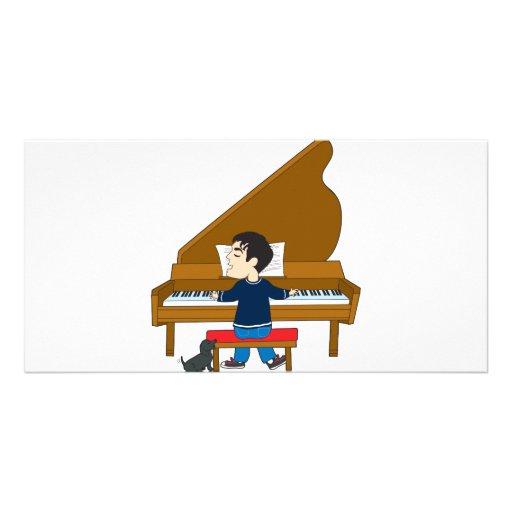 Piano Player and Dog Custom Photo Card