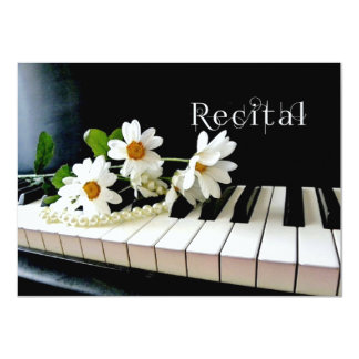Piano Recital Invitation Pearls and Flowers