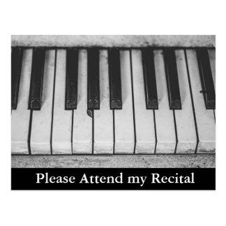 Piano Recital Musical Recital Invitations Postcard