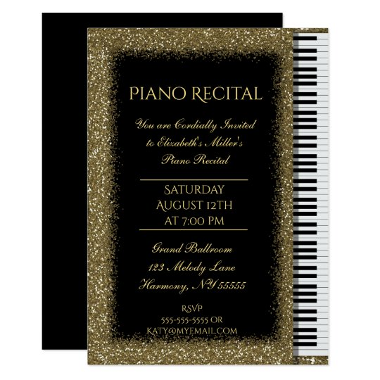 Piano Recital with Gold Glitter on Black Card