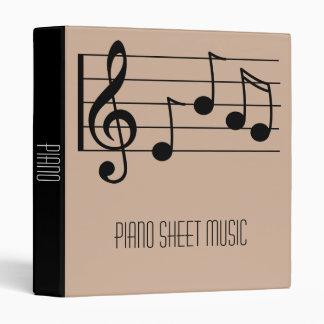Piano Sheet Music student folder portfolio 3 Ring Binders