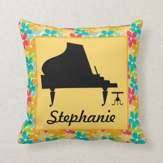 Piano Silhouette Personalized Music Throw Pillow