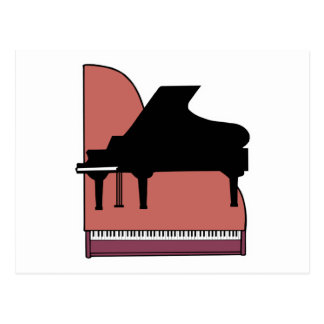 piano silouhette design postcard