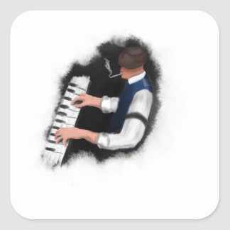 Piano Singer Square Sticker