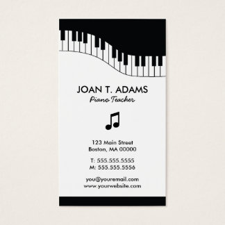 Piano Teacher Keyboard Music Business Cards