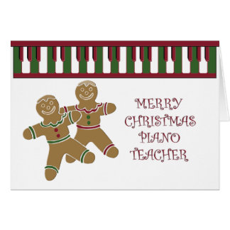 PIANO teacher merry christmas Greeting Cards