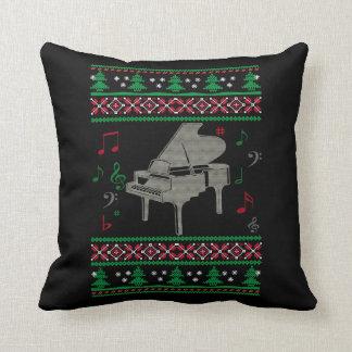 Piano Ugly Christmas Throw Pillow