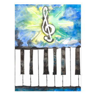 Piano Watercolor Postcard
