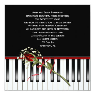 Piano Wedding Vow Renewal Card