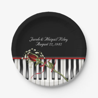 Piano with red rose paper plate