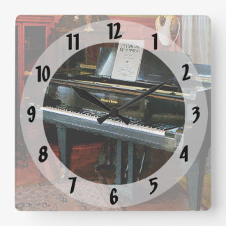Piano With Sheet Music Square Wall Clock
