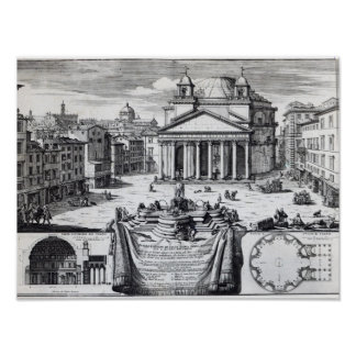 Piazza della Rotonda with a view of Pantheon Poster