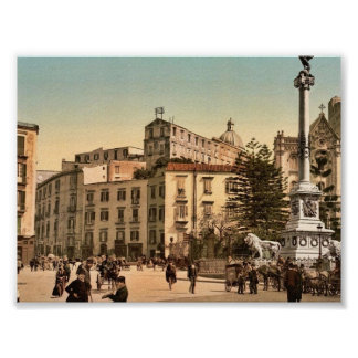 Piazza of Martiri, Naples, Italy classic Photochro Poster