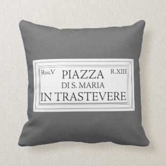 Piazza Santa Maria in Trastevere, Rome Street Sign Throw Pillow