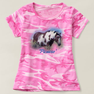 Picasso stallion on camouflage t-shirt