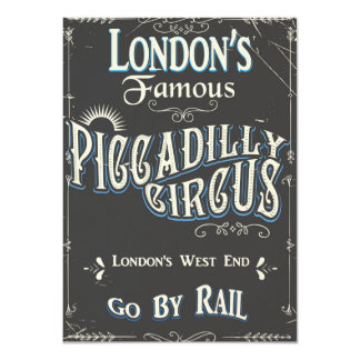 Piccadilly Circus London vintage poster Card