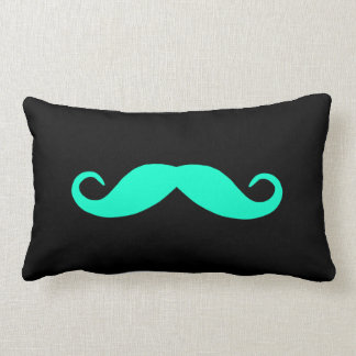 Pick A Color Mustache on Black Lumbar Pillow