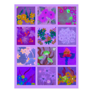 Pick a Pack of Purple Posies Art Miniature Postcard