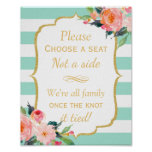 Pick a Seat Not a Side | Mint Green Stripes Floral Poster