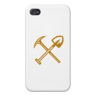 Pick Axe Shovel Crossed Retro iPhone 4/4S Cases