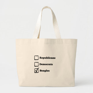 Pick Beagles! Political Beagle Print Large Tote Bag