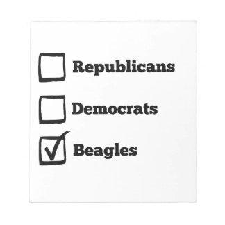 Pick Beagles! Political Beagle Print Notepads