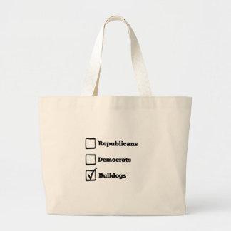 Pick Bulldogs! Political Election Dog Print Large Tote Bag