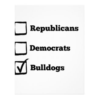 Pick Bulldogs! Political Election Dog Print Letterhead