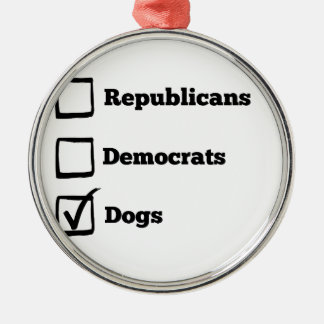 Pick Dogs! Political Election Dog Print Silver-Colored Round Ornament