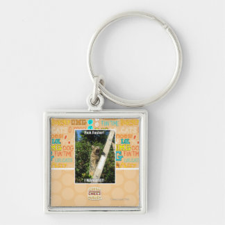 Pick Faster! Silver-Colored Square Keychain