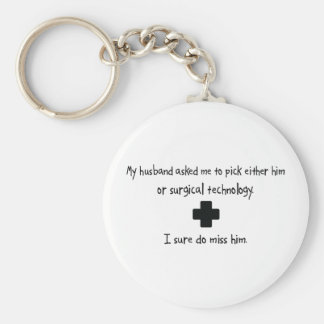 Pick Husband or Surgical Technology Basic Round Button Keychain