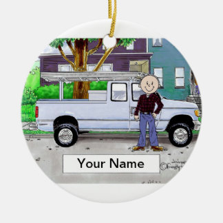 Pick Up Truck, Blue - Male Ceramic Ornament