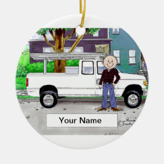 Pick Up Truck, White - Male Ceramic Ornament