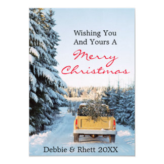 "Pick up truck with pine tree on back 5"" x 7"" invitation card"
