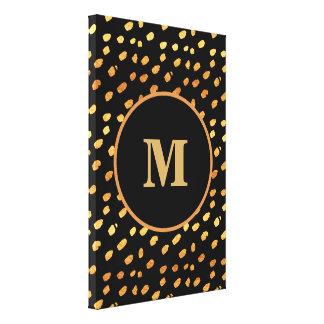 Pick Your Size!  Black and Gold Confetti Monogram Canvas Print