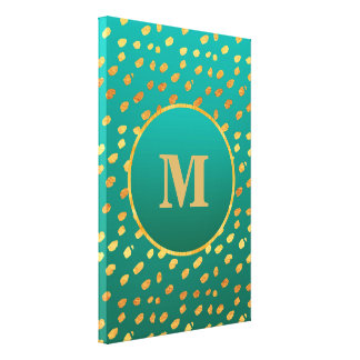 Pick Your Size!  Teal and Gold Confetti Monogram Canvas Print